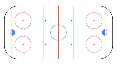 Vista dall'alto della pista di hockey su ghiaccio. Sfondo di hockey. Illustrazione vettoriale