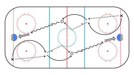 Ice Hockey Rink top view. Hockey background. Vector illustration  イラスト・ベクター素材