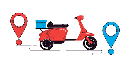 Delivery concept illustration. Scooter with a cargo and destination points isolated on a white background. Food service. Vector illustration Illustration