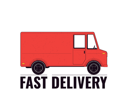Delivery concept illustration. Delivery truck isolated on a white background. Food service. Vector illustration