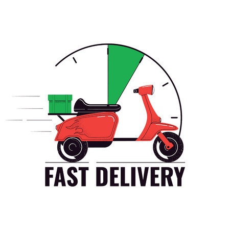 Delivery concept illustration. Scooter with a cargo and clock face isolated on a white background. Food service. Vector illustration