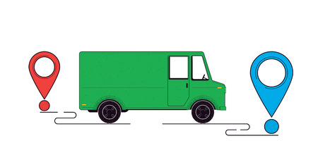 Delivery concept illustration. Delivery truck and destination points isolated on a white background. Food service. Vector illustration