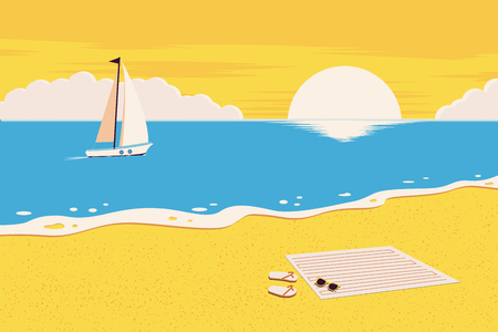 Summer background. The beach and the tropical sea with the setting sun. Template for poster, banner, web.  Vector illustration