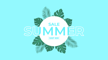 Summer banner design. Contour Typography element with palm leaves. Vector illustration