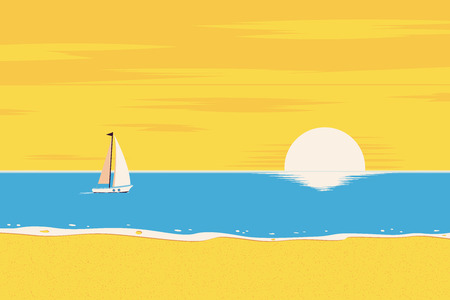 Summer background. The beach and the tropical sea with the setting sun. Tropical landscape. Template for poster, banner, web.  Vector illustration