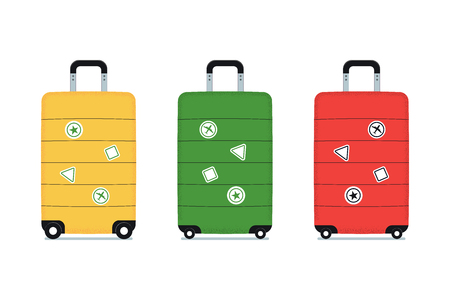 Set of travel bags with tourist stickers. Luggages isolated on a white background. Vector illustration