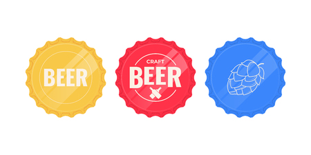 Beer caps. Set of colorful beer caps isolated on a white background. Vector illustration