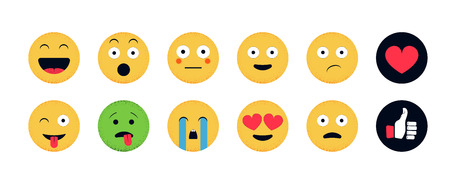 Insieme di emoji. Emoticon divertente isolato su sfondo bianco. Illustrazione vettoriale