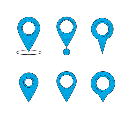 Set of map pointers. Map pointers isolated on a white background. Vector illustration Ilustrace