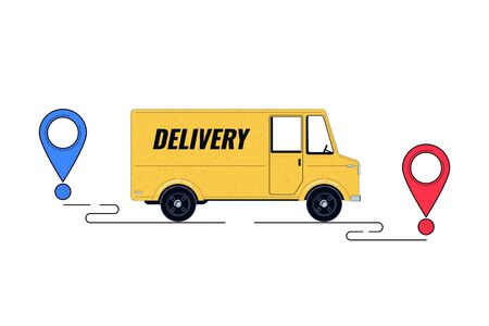 Delivery concept illustration. Delivery truck with path line and destination of delivery. Lorry isolated on a white background. Vector illustration