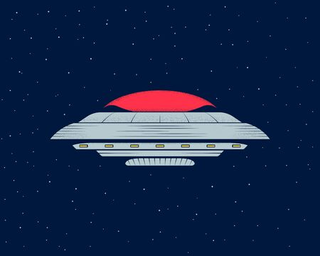 Ufo in the night sky. Flying saucer in the open space. Vector illustration