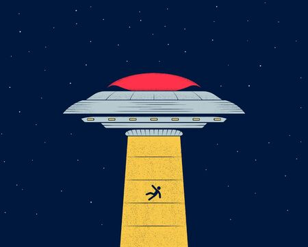 Ufo in the night sky abducts man. Flying saucer. Vector illustration Vectores