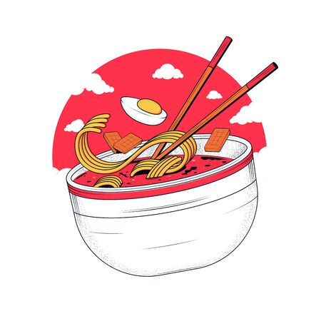 Ramen noodles. Noodles with egg and meat. Bowl with ramen and sticks on the background of the sun and clouds. Vector illustration