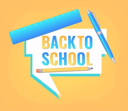 Back to school banner design with education supplies and letters cut from paper. Banner, poster or advertisement template. Vector illustration Vectores