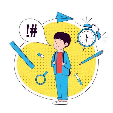 Back to school. Happy boy with school supplies. School boy .Vector illustration. Çizim