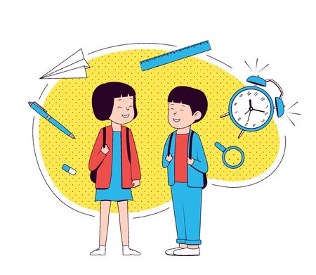 Back to school. Happy girl and boy with school supplies. School girl and school girl .Vector illustration. Vectores