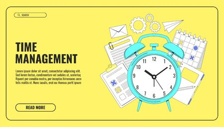 Time management concept illustration, organization, working time. Landing page template. Easy to repaint and adapt to your design. Vector illustration Vectores