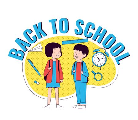 Back to school. Happy girl and boy with school supplies. Back to school logo. Vector illustration.