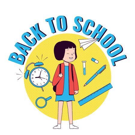 Back to school. Happy girl with school supplies. School girl .Vector illustration.
