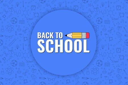 Back to school. Back to school logo on doodles background. Vector illustration