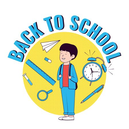 Back to school. Happy boy with school supplies. School boy .Vector illustration. Ilustração