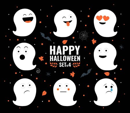 Happy halloween. Set of ghosts, funny faces. Halloween emoticons. Vector illustration. Vectores