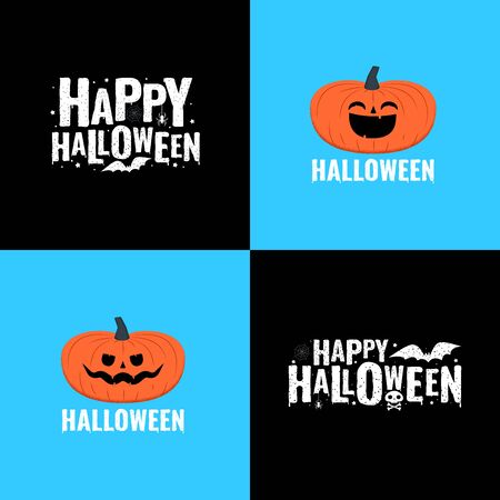 Happy halloween emblems. Pumpkins with funny faces and lettering composition for banner, poster, card, party invitation. Vector illustration Vectores