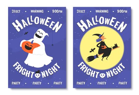 Happy halloween posters. Halloween party invitations or greeting cards. Vector illustration