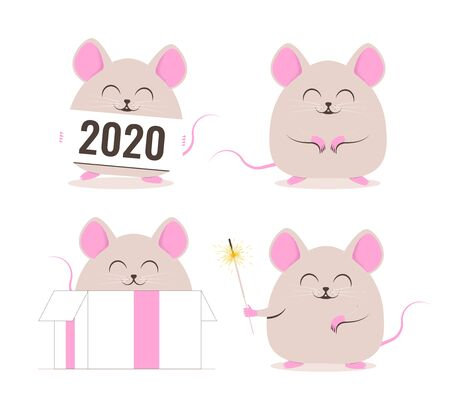 Cute Rat. Chinese New Year. Set of funny rats. Vector illustration Vectores