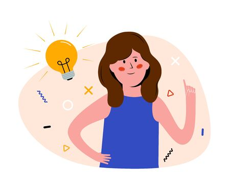 Idea Generation Concept. Smiling girl with light bulb. Young Woman had an idea. Flat vector illustration