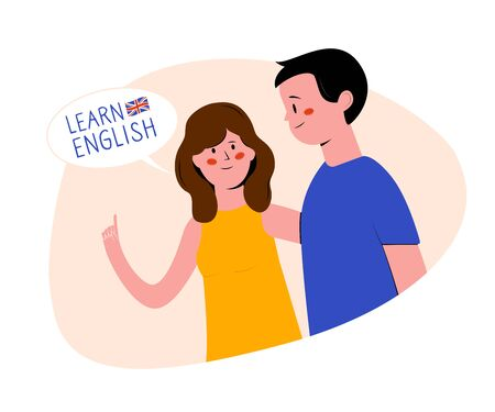 Learn english. Young woman and young man. Girl talking to boy. People with speech bubble. Flat vector illustration