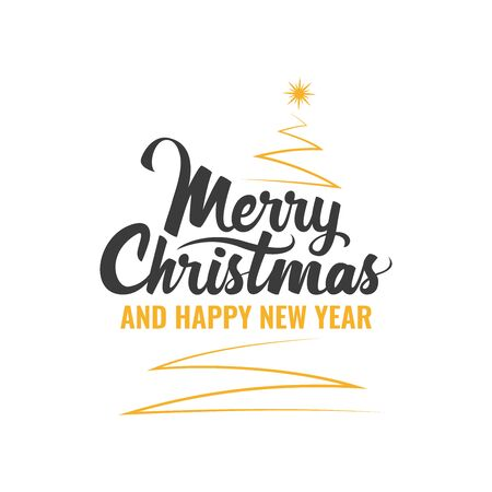 Merry Christmas. Handwritten Lettering with Christmas tree. Template for banner, greeting card or invitations. Christmas decoration element. Vector illustration