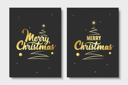Merry Christmas. Handwritten lettering with Christmas tree and shining star. Golden text. Template for banner, greeting card or invitations. Christmas decoration element. Vector illustration