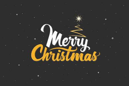 Merry Christmas. Handwritten lettering with Christmas tree and shining star. Template for banner, greeting card or invitations. Christmas decoration element. Vector illustration Vectores