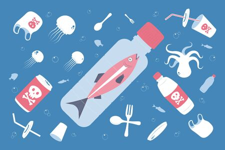 Water pollution. Plastic waste in ocean. Dead fish swimming in water full of garbage. Vector Illustration.