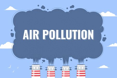Air pollution. Factory pipes emits smoke. Smoke from the chimneys of the plant on the background of clouds. The concept of environmental pollution. Vector illustration Vectores