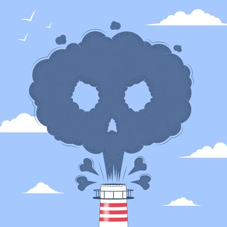 Air Pollution. Factory pipe ejecting smoke. Smoke from a factory chimney in the form of a skull with bones. Environment Pollution concept. Vector illustration