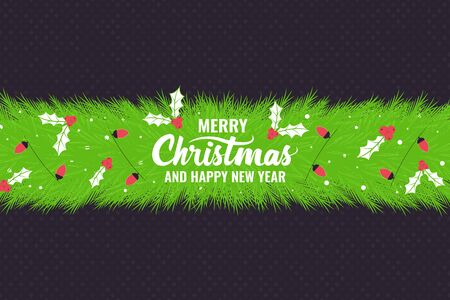 Christmas Background with Christmas tree branch and Wishes. Template for poster, banner for invitation. Vector illustration