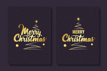 Merry Christmas. Handwritten lettering with Christmas tree and shining star. Golden text. Template for banner, greeting card or invitations. Vector illustration
