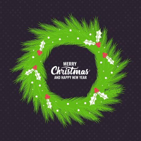 Christmas Background with Christmas wreath and Wishes. Template for poster, banner for invitation. Vector illustration