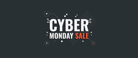 Cyber monday. Vector background for Cyber Monday Sale. Sale banner with geometric shapes and text.