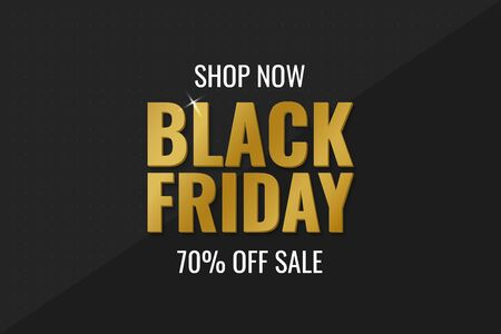 Black Friday Sale Banner. Abstract Black Background with Golden Text. Vector illustration Vectores