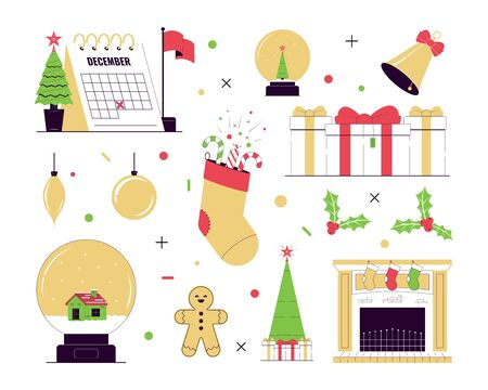 Merry Christmas and Happy New Year. Set of  illustration. Christmas and New Year Icons. Vector illustration