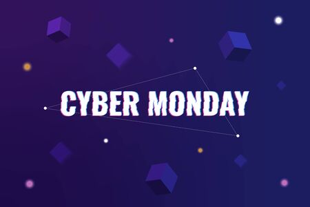Cyber Monday. Abstract background with distorted inscription and gradient shapes. Cyber Monday Sale background. Vector illustration