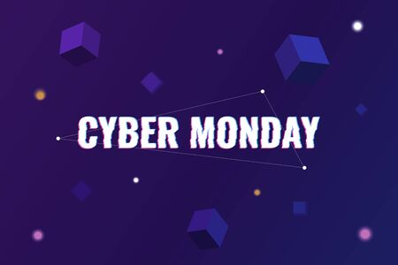 Cyber Monday. Abstract background with distorted inscription and gradient shapes. Cyber Monday Sale background. Vector illustration Foto de archivo - 137222283