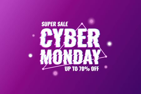 Cyber Monday. Abstract background with distorted inscription and gradient shapes. Cyber Monday Sale background. Vector illustration Foto de archivo - 137222281