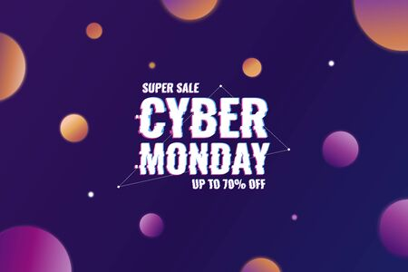 Cyber Monday. Abstract background with distorted inscription and gradient spheres. Cyber Monday Sale background. Vector illustration