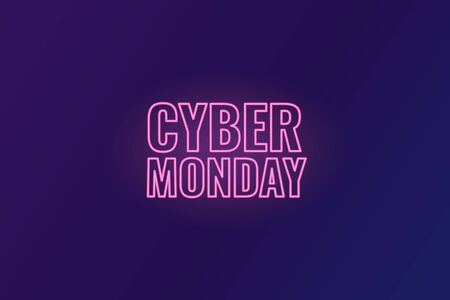 Cyber Monday. Abstract background with neon inscription and gradient spheres. Cyber Monday Sale background. Vector illustration