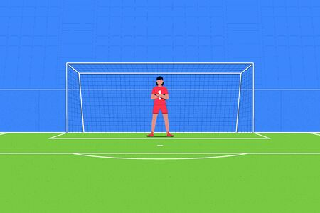 Football. Goalkeeper on the background of the football goal and the stands. Soccer concept. Vector illustration Foto de archivo - 137240358