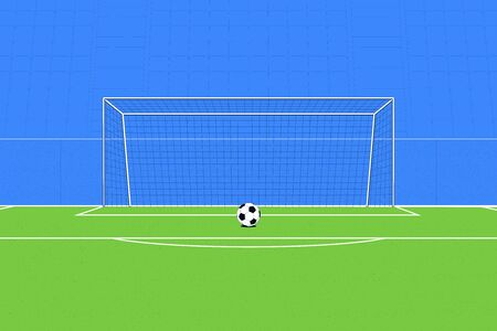 Football Ball on the background of the football goal and the stands. Soccer concept. Vector illustration Foto de archivo - 137240361